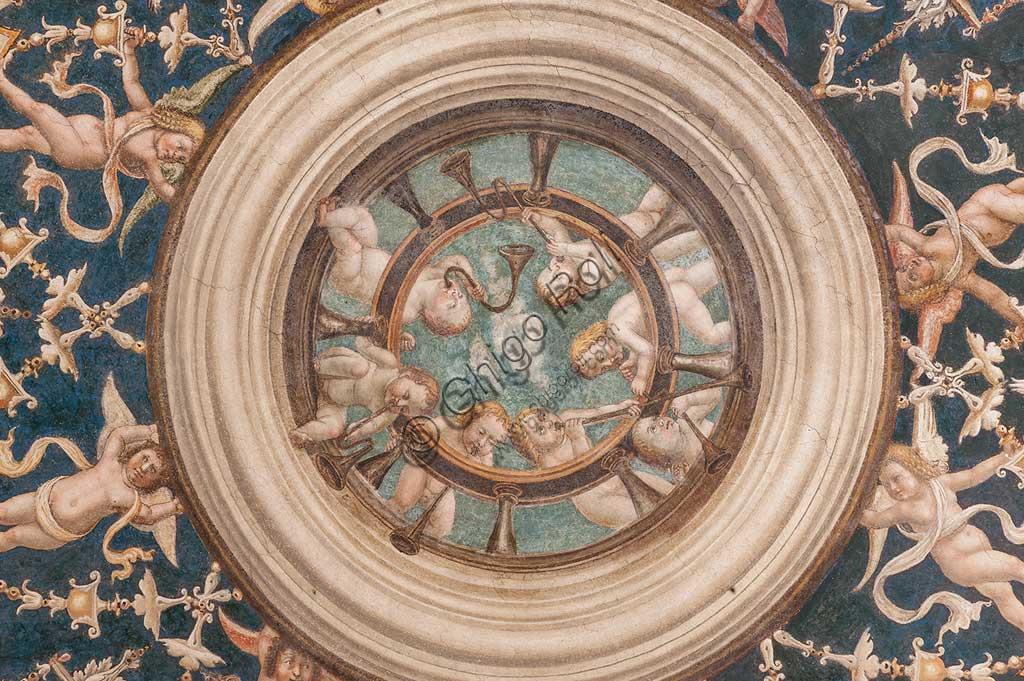 Parma, Ex-Monastero di San Paolo: Camera con affreschi di A. Araldi (1514) . Nella volta, scene dell'Antico e del Nuovo Testamento, decorazioni a grottesche. Particolare con al centro putti musicanti.