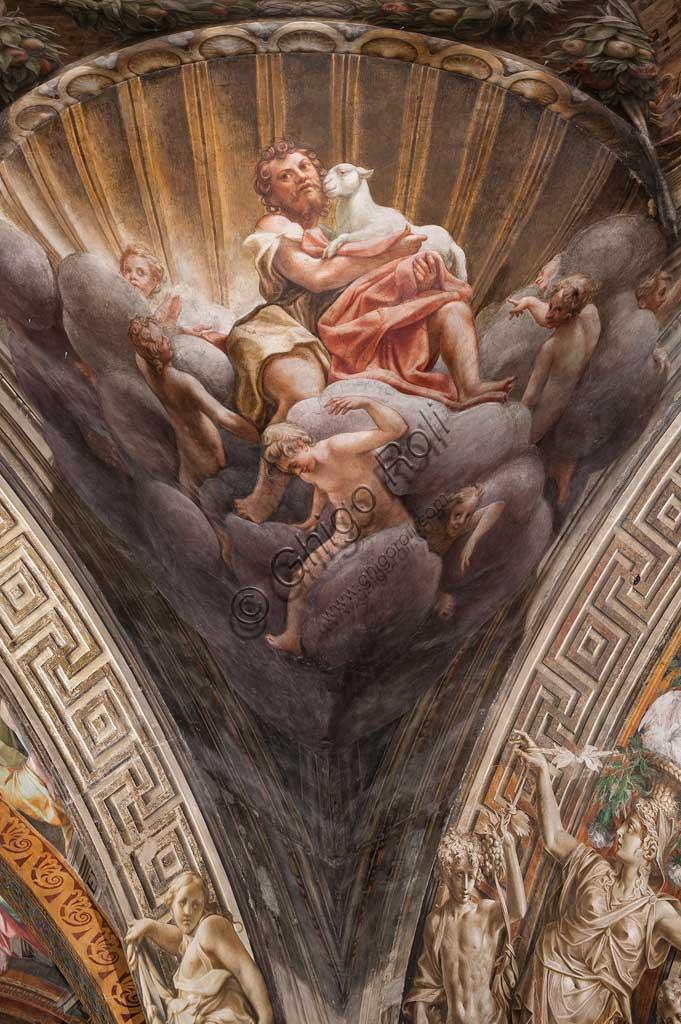 """Parma, Duomo (Cattedrale di Santa Maria Assunta), cupola:  """"Assunzione della Vergine"""", affrescata tra il 1526 e il 1530 Antonio Allegri, detto il Correggio. Particolare di pennacchio con San Giovanni Battista."""