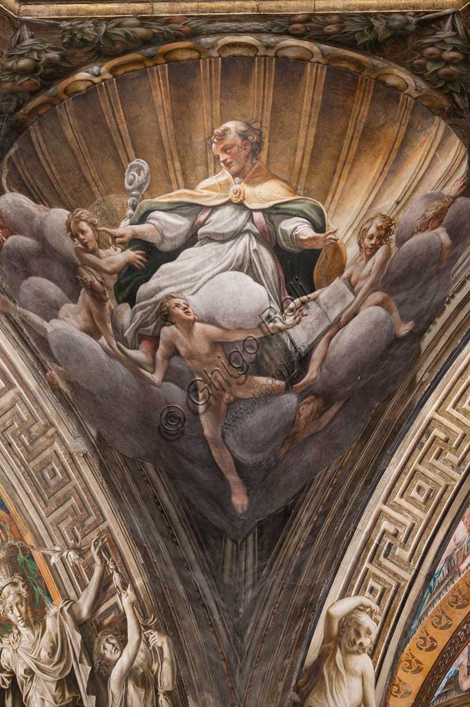 """Parma, Duomo (Cattedrale di Santa Maria Assunta), cupola:  """"Assunzione della Vergine"""", affrescata tra il 1526 e il 1530 Antonio Allegri, detto il Correggio. Particolare di pennacchio con Sant'Ilario."""