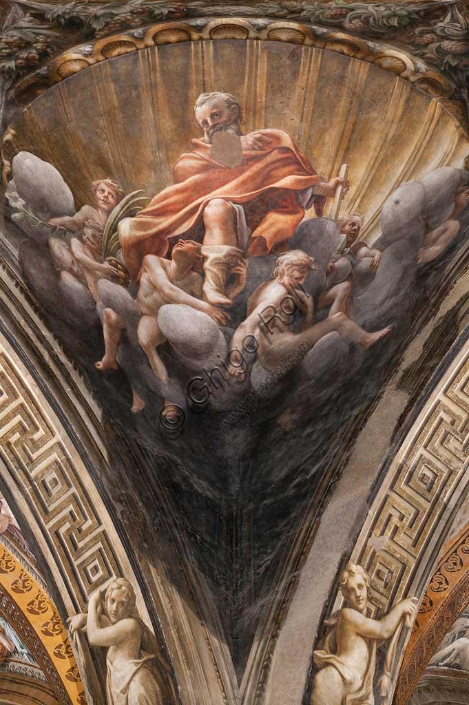 """Parma, Duomo (Cattedrale di Santa Maria Assunta), cupola:  """"Assunzione della Vergine"""", affrescata tra il 1526 e il 1530 Antonio Allegri, detto il Correggio. Particolare di pennacchio con San Tommaso."""