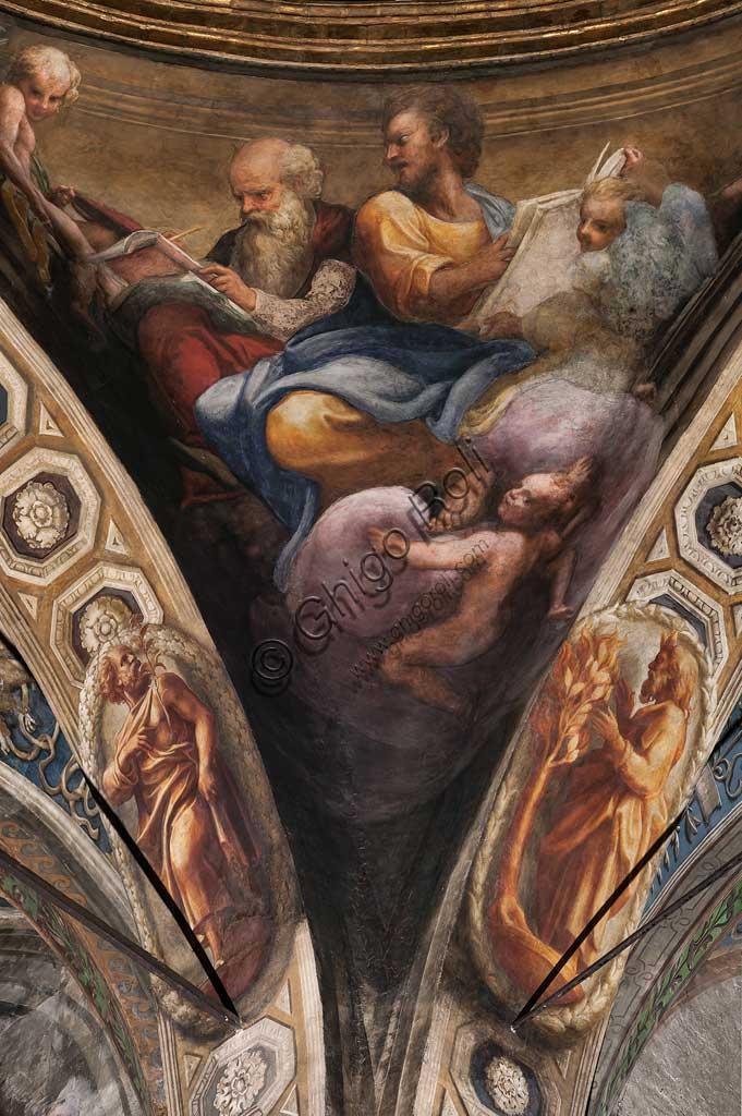 """Parma, Chiesa di San Giovanni Evangelista, cupola: """"Ascensione di Cristo"""" , del Correggio (Giovanni Allegri) (1520-1522). Particolare con S. Luca e S. Ambrogio."""