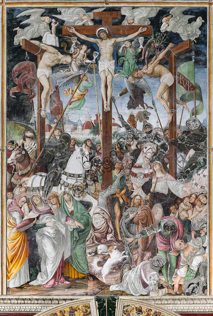 "Varallo Sesia, Church of Santa Maria delle Grazie: frescoes of the Gaudenzio Ferrari wall ""The life and the Passion of Christ"", by Gaudenzio Ferrari, 1513. Detail of the ""Crucifixion""."
