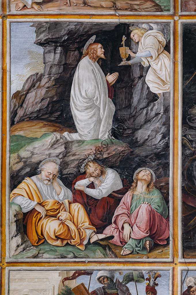 "Varallo Sesia, Church of Santa Maria delle Grazie: frescoes of the Gaudenzio Ferrari wall ""The life and the Passion of Christ"", by Gaudenzio Ferrari, 1513. Detail of ""Christ praying the the Garden of Gethsemane""."