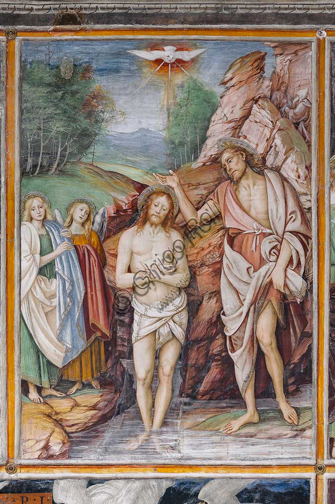 "Varallo Sesia, Church of Santa Maria delle Grazie: frescoes of the Gaudenzio Ferrari wall ""The life and the Passion of Christ"", by Gaudenzio Ferrari, 1513. Detail of ""The Baptism of Jesus""."