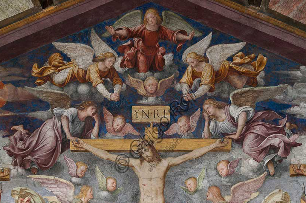 "Lugano, Church of St. Mary of Angels: ""Passion and Crucifixion of Christ"", frescoes by Bernardino Luini, 1529. Detail of the Crucifixion."