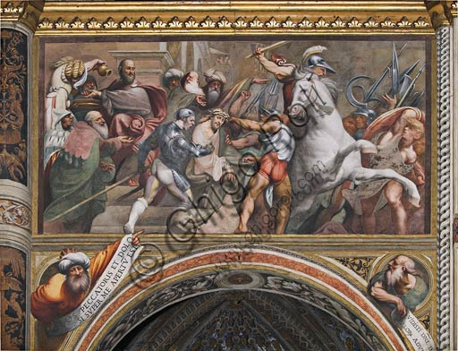 "Cremona, Duomo (the Cathedral of S. Maria Assunta), interior, middle nave, fourteenth arch: ""Pontius Pilate washes his hands(Ascent to the Calvary)"", fresco by Pordenone (Giovan Antonio de' Sacchis), 1520."