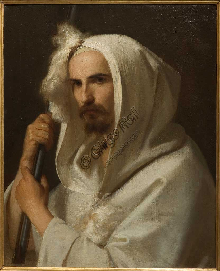 """Assicoop - Unipol Collection: """"Portrait of an Arab with a rifle and a barracano"""" 1849, by Adeodato Malatesta (1806 - 1891), oil on canvas."""