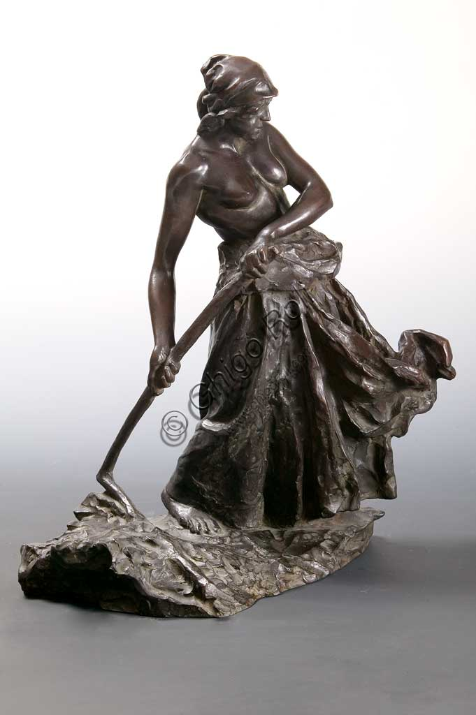 "Assicoop - Unipol Collection: ""Woman beating the Wheat"", bronze statue, by Giuseppe Graziosi (1879 - 1942)."