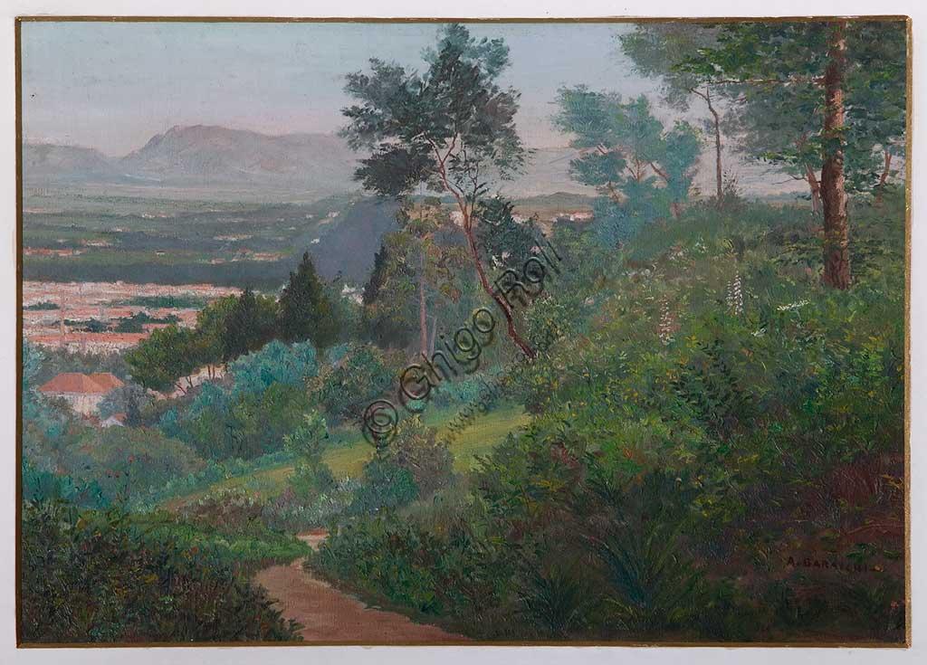 """Collezione Assicoop - Unipol: Augusto Baracchi (1878-1942): """"Veduta di Vignola"""", olio su compensato, cm. 37,5 x 54,5."""