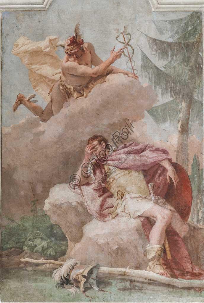 """Vicenza, Villa Valmarana ai Nani, Palazzina: la terza stanza o stanza dell' Eneide: """"Enea sogna Mercurio che gli ordina di ripartire"""".  Affreschi di Giambattista Tiepolo, 1756 - 1757."""