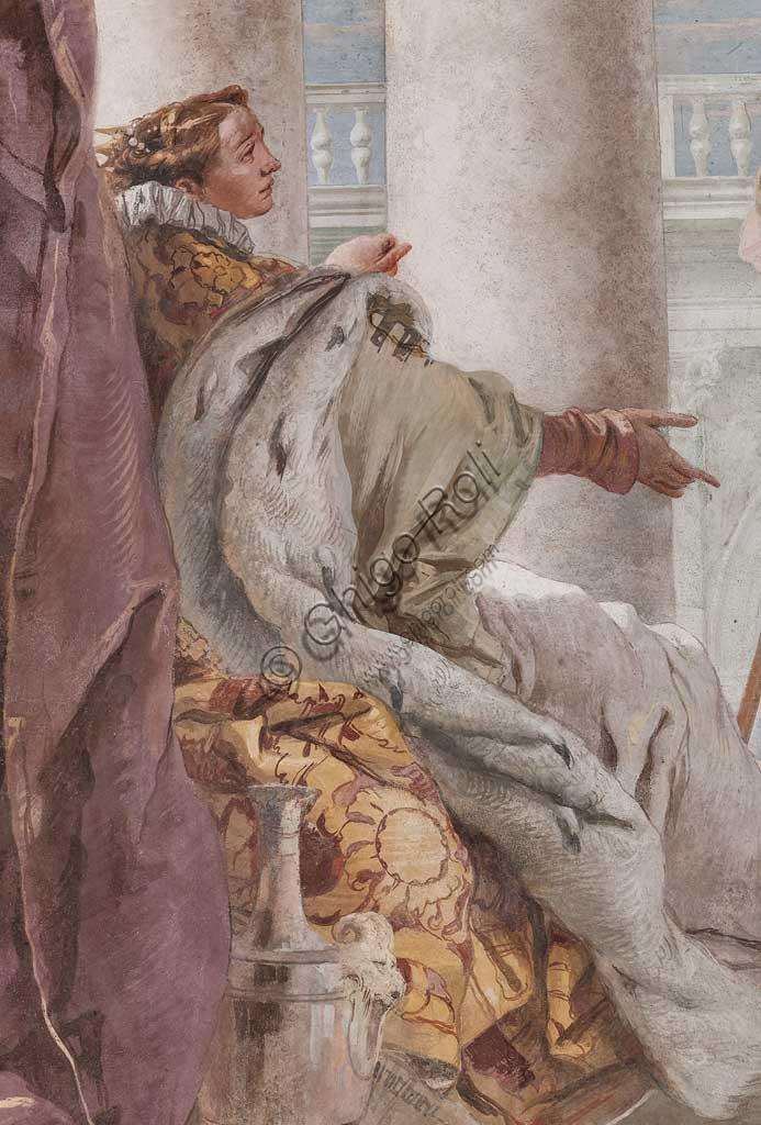 """Vicenza, Villa Valmarana ai Nani, Palazzina, la terza stanza o stanza dell' Eneide: """"Enea presenta a Didone Amore nelle sembianze di Ascanio"""". Affreschi di Giambattista Tiepolo, 1756 - 1757. Particolare."""