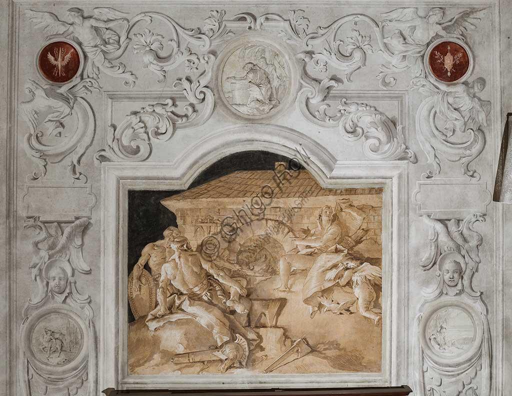Vicenza, Villa Valmarana ai Nani, Palazzina, la terza stanza o stanza dell' Eneide: riquadro monocromo che rappresenta Vulcano, dio del fuoco, che nella sua fucina sovrintende al lavoro dei fabbri che stanno forgiando le armi per Enea alla presenza di Venere. Affreschi di Giandomenico  Tiepolo, 1756 - 1757.