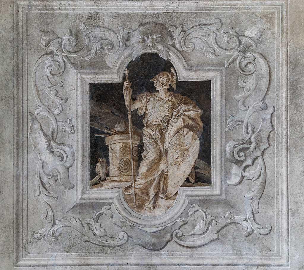 Vicenza, Villa Valmarana ai Nani, Palazzina, la terza stanza o stanza dell' Eneide: riquadro monocromo che rappresenta Enea. Affreschi di Giandomenico  Tiepolo, 1756 - 1757.