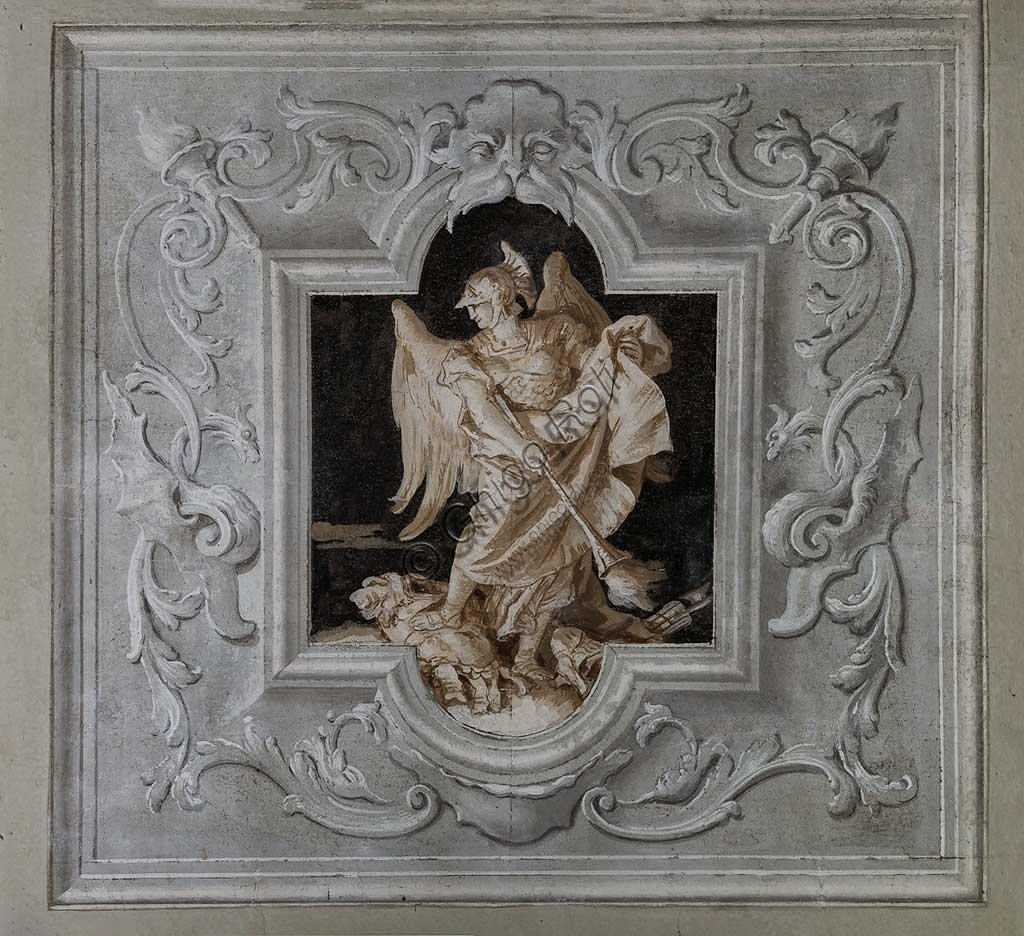 Vicenza, Villa Valmarana ai Nani, Palazzina, la terza stanza o stanza dell' Eneide: riquadro monocromo che rappresenta Mercurio. Affreschi di Giandomenico  Tiepolo, 1756 - 1757.