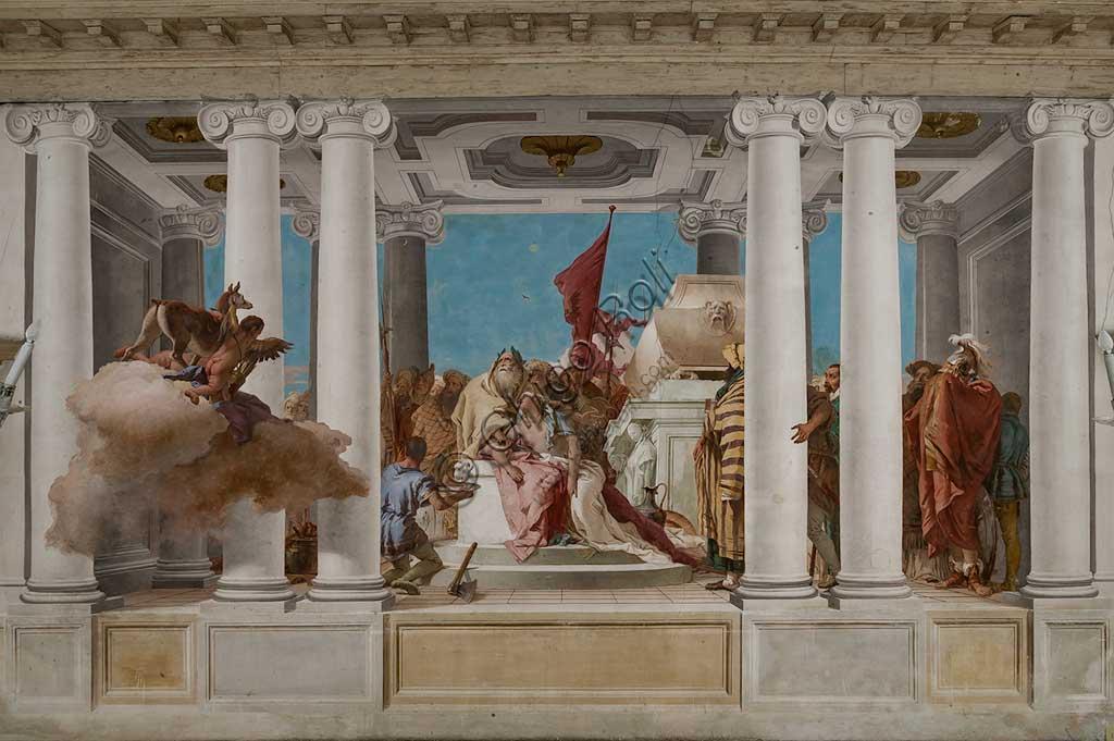 """Vicenza, Villa Valmarana ai Nani, Palazzina, Atrio:  """"Il sacrificio di Ifigenia"""".  Affresco di Giambattista Tiepolo, 1757."""