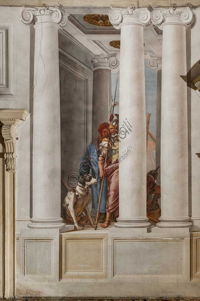 """Vicenza, Villa Valmarana ai Nani, Palazzina, Atrio:  """"La flotta greca in Aulide"""", particolare con soldato e cane.  Affresco di Giambattista Tiepolo, 1757."""
