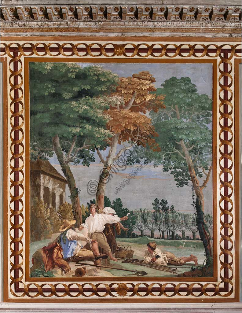 """VIicenza, Villa Valmarana ai Nani, Foresteria, Stanza delle Scene Campestri: """"Il riposo dei contadini"""" , affresco di Giandomenico Tiepolo, 1757."""