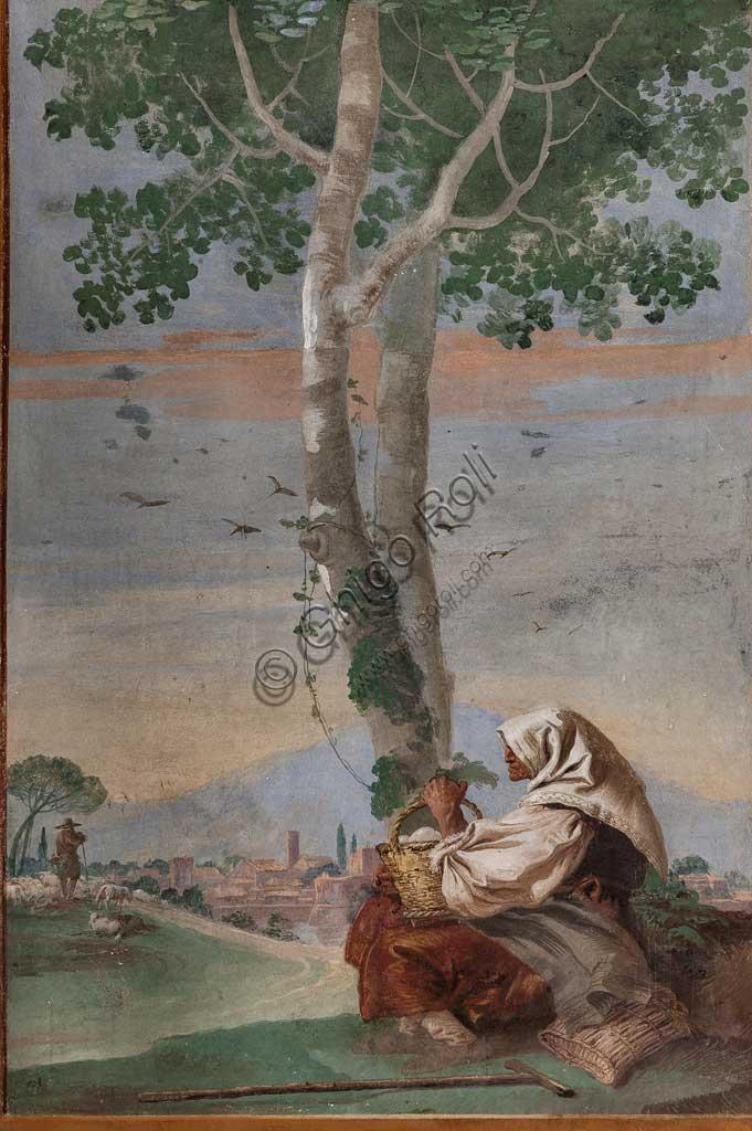 """VIicenza, Villa Valmarana ai Nani, Foresteria, Stanza delle Scene Campestri: """"Paesaggio con contadina seduta"""" , affresco di Giandomenico Tiepolo, 1757."""