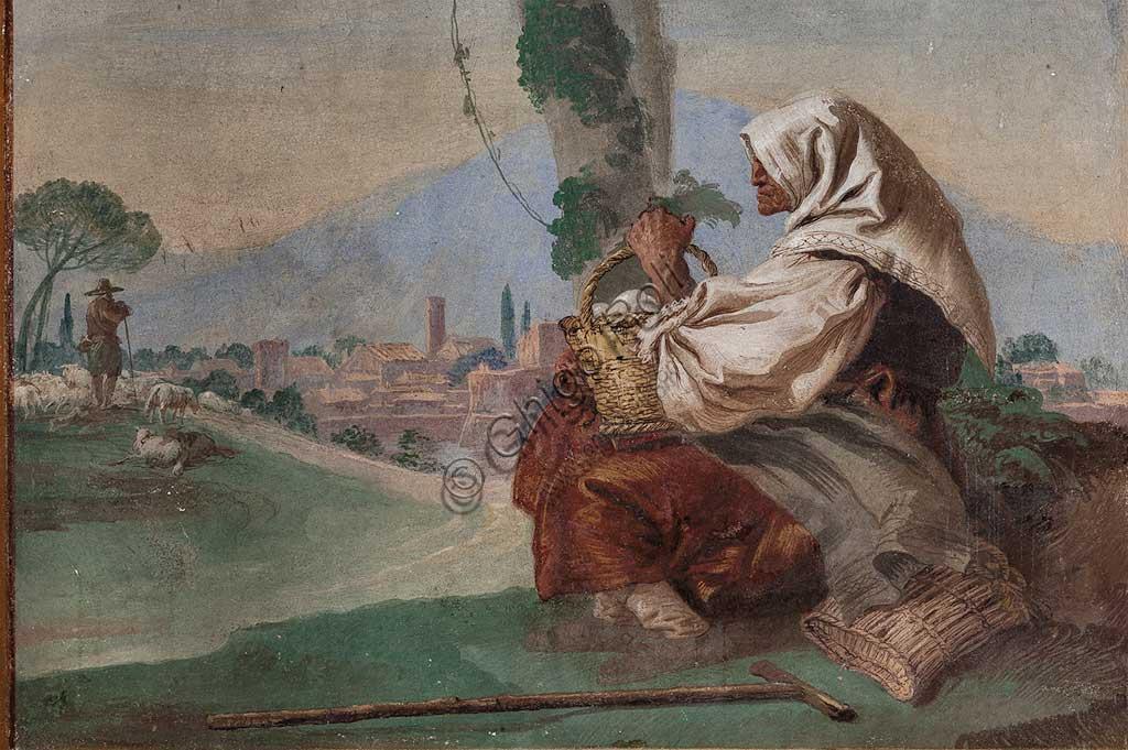 """VIicenza, Villa Valmarana ai Nani, Foresteria, Stanza delle Scene Campestri: """"Paesaggio con contadina seduta"""" , affresco di Giandomenico Tiepolo, 1757. Particolare."""
