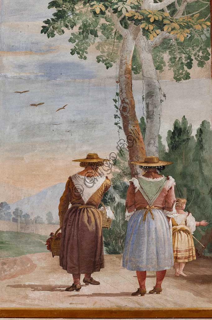 """VIicenza, Villa Valmarana ai Nani, Foresteria, Stanza delle Scene Campestri: """"Paesaggio con contadine"""" , affresco di Giandomenico Tiepolo, 1757. Particolare."""