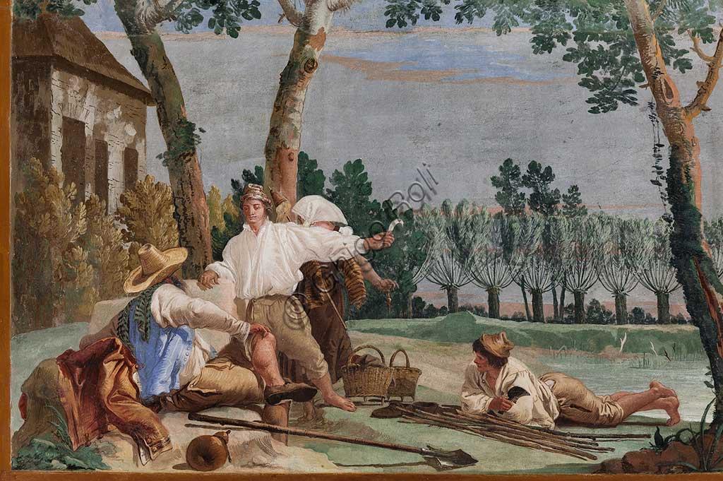 """VIicenza, Villa Valmarana ai Nani, Foresteria, Stanza delle Scene Campestri: """"Il riposo dei contadini"""" , affresco di Giandomenico Tiepolo, 1757. Particolare."""