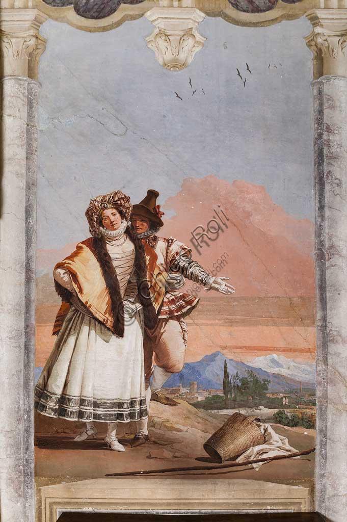 """VIicenza, Villa Valmarana ai Nani, Foresteria, Stanza delle finte architetture gotiche: """"Dichiarazione d'amore""""; affresco di Giandomenico Tiepolo, 1757."""