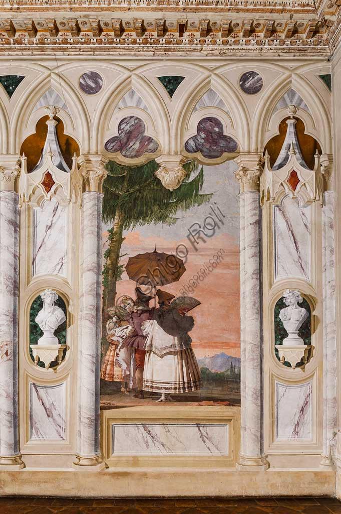 """VIicenza, Villa Valmarana ai Nani, Foresteria, Stanza delle finte architetture gotiche: """"Passeggiata estiva""""; affresco di Giandomenico Tiepolo, 1757."""