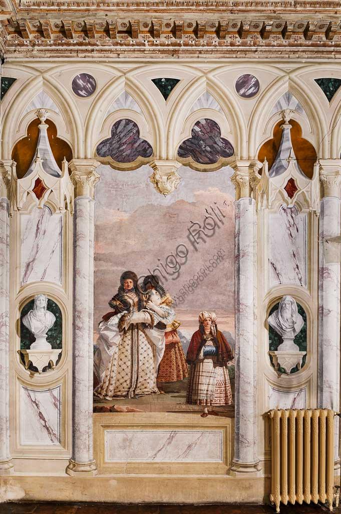 """VIicenza, Villa Valmarana ai Nani, Foresteria, Stanza delle finte architetture gotiche: """"Passeggiata invernale""""; affresco di Giandomenico Tiepolo, 1757."""