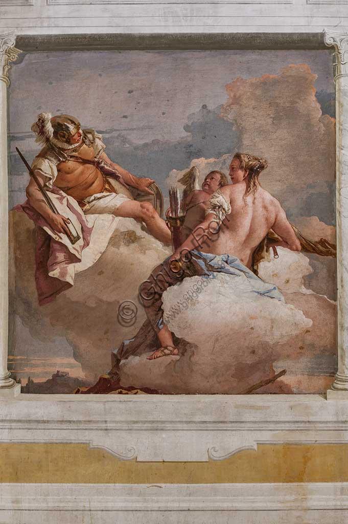 """VIicenza, Villa Valmarana ai Nani, Foresteria, Stanza dell'Olimpo:  """"Marte, Venere e Amore"""". Affresco di Giambattista Tiepolo, 1757."""
