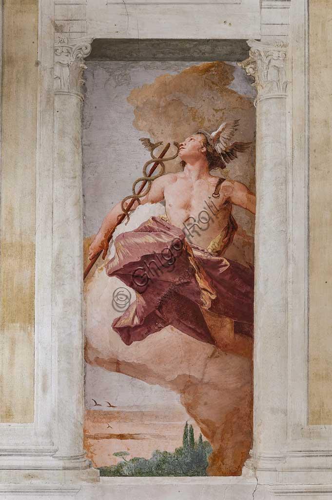 """VIicenza, Villa Valmarana ai Nani, Foresteria, Stanza dell'Olimpo:  """"Mercurio"""". Affresco di Giambattista Tiepolo, 1757."""