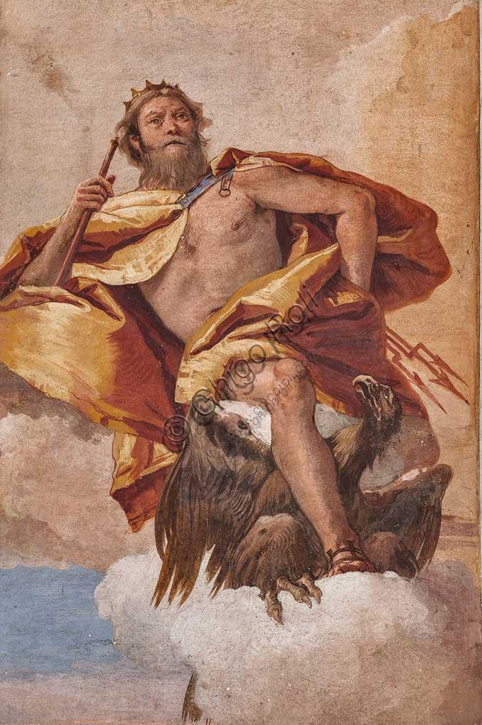 """VIicenza, Villa Valmarana ai Nani, Foresteria, Stanza dell'Olimpo:  """"Giove"""". Affresco di Giambattista Tiepolo, 1757."""