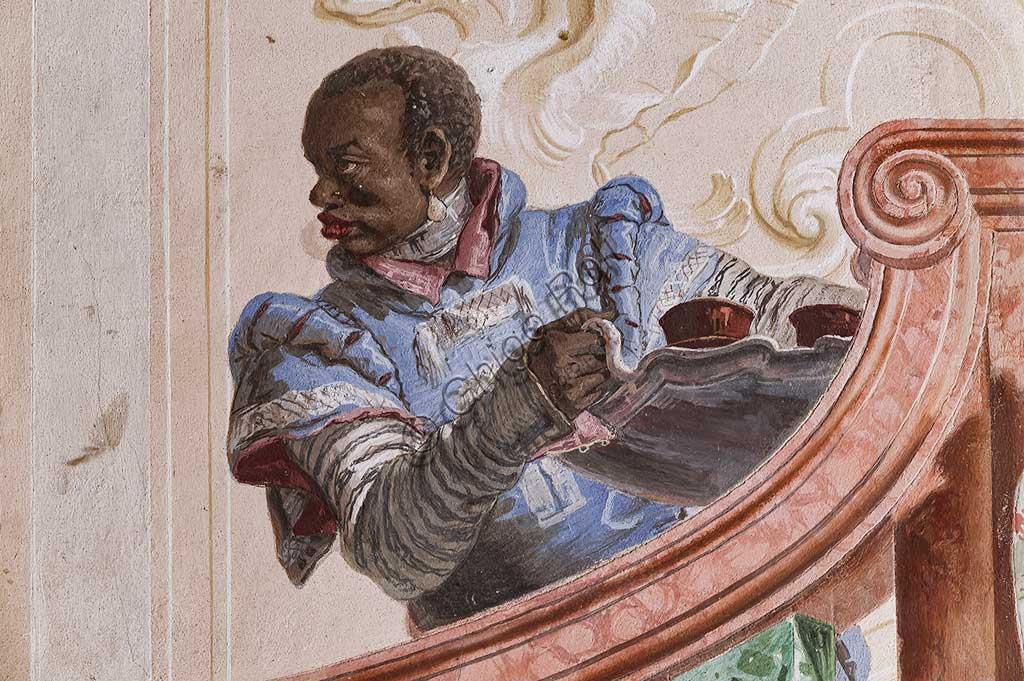 """VIicenza, Villa Valmarana ai Nani, Foresteria, Stanza delle scene carnevalesche: """"Servo Moro sul finto scalone"""". Affreschi di Giandomenico Tiepolo, 1757. Particolare."""