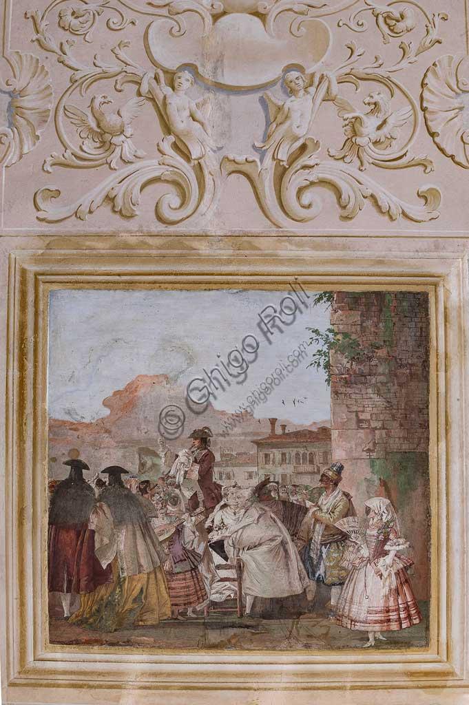 """VIicenza, Villa Valmarana ai Nani, Foresteria, Stanza delle scene carnevalesche: """"Spettacolo di un ciarlatano""""; scena con maschere, a imitazione di un dipinto a olio. Affreschi di Giandomenico Tiepolo, 1757."""