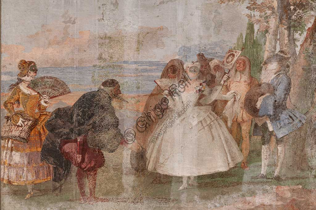"""VIicenza, Villa Valmarana ai Nani, Foresteria, Stanza delle scene carnevalesche: """"Pantalone e Colombina""""; scena con maschere. Affreschi di Giandomenico Tiepolo, 1757."""