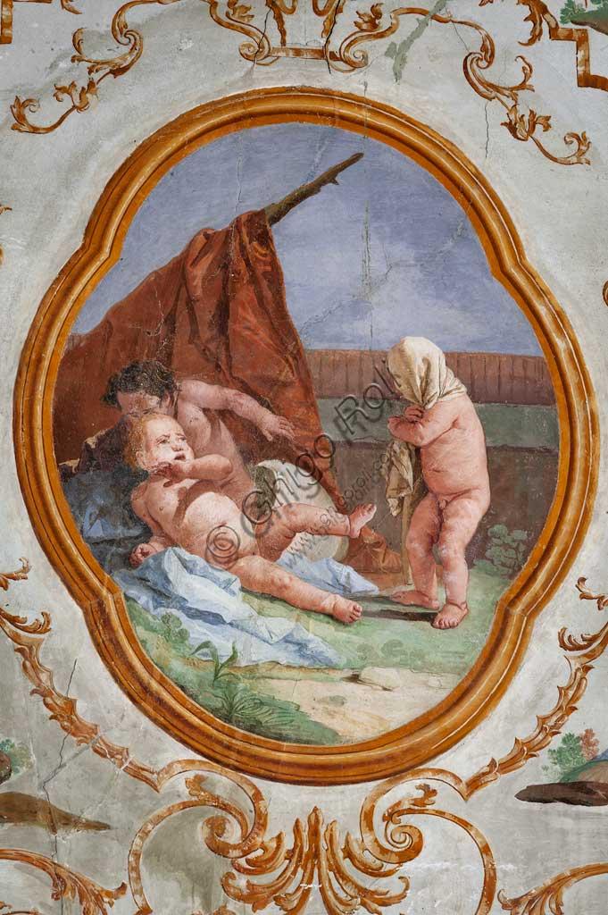 """VIicenza, Villa Valmarana ai Nani, Foresteria, Stanza dei Putti, medaglione con putti: """"Il travestimento"""",  di Giandomenico Tiepolo, 1757."""