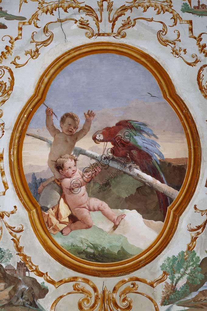 """VIicenza, Villa Valmarana ai Nani, Foresteria, Stanza dei Putti, medaglione con putti: """"Due putti e un pappagallo"""",  di Giandomenico Tiepolo, 1757."""