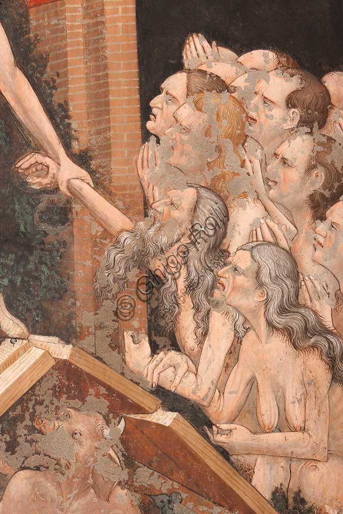"""Rocca di Vignola, Cappella Contrari, parete settentrionale: """"Resurrezione"""" e """"Discesa al Limbo"""", affresco del Maestro di Vignola, anni Venti del Quattrocento. Particolare della """"Discesa al Limbo""""  le porte rotte dell'Inferno e il diavolo a terra."""