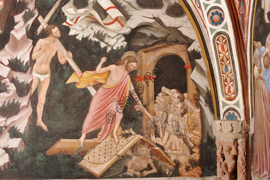 """Rocca di Vignola, Cappella Contrari, parete settentrionale: """"Resurrezione"""" e """"Discesa al Limbo"""", affresco del Maestro di Vignola, anni Venti del Quattrocento. Particolare della """"Discesa al Limbo"""" con Gesù che prende la mano di Adamo. Ai suoi piedi, le porte rotte dell'Inferno e il diavolo a terra. Alla spalle di Gesù è il Buon Ladrone Disma."""