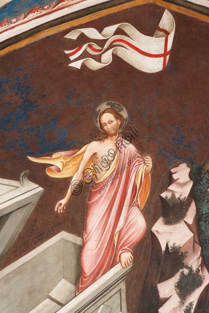 """Rocca di Vignola, Cappella Contrari, parete settentrionale: """"Resurrezione"""" e """"Discesa al Limbo"""", affresco del Maestro di Vignola, anni Venti del Quattrocento. Particolare della figura di Cristo risorto."""