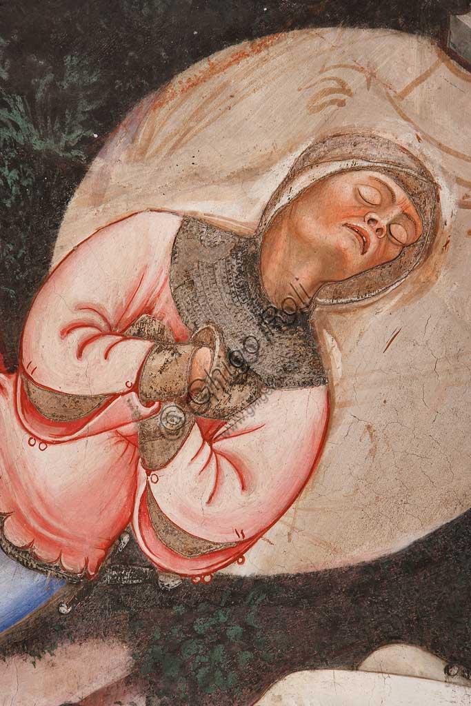 """Rocca di Vignola, Cappella Contrari, parete settentrionale: """"Resurrezione"""" e """"Discesa al Limbo"""", affresco del Maestro di Vignola, anni Venti del Quattrocento. Particolare della Resurrezione con soldato romano addormentato."""