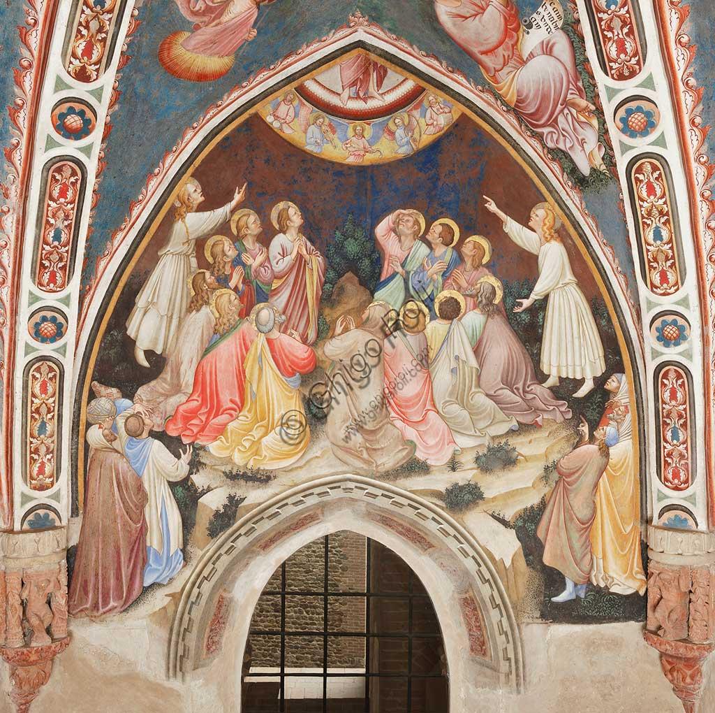"""Rocca di Vignola, Cappella Contrari, parete orientale: """"Ascensione di Cristo"""". Affresco del Maestro di Vignola, anni Venti del Quattrocento."""