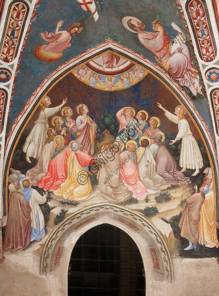 """Rocca di Vignola, Cappella Contrari, parete orientale: """"Ascensione di Cristo"""". In alto a sinistra """"Cristo risorto"""", a destra """"L'Evangelista Marco"""". Affresco del Maestro di Vignola, anni Venti del Quattrocento."""