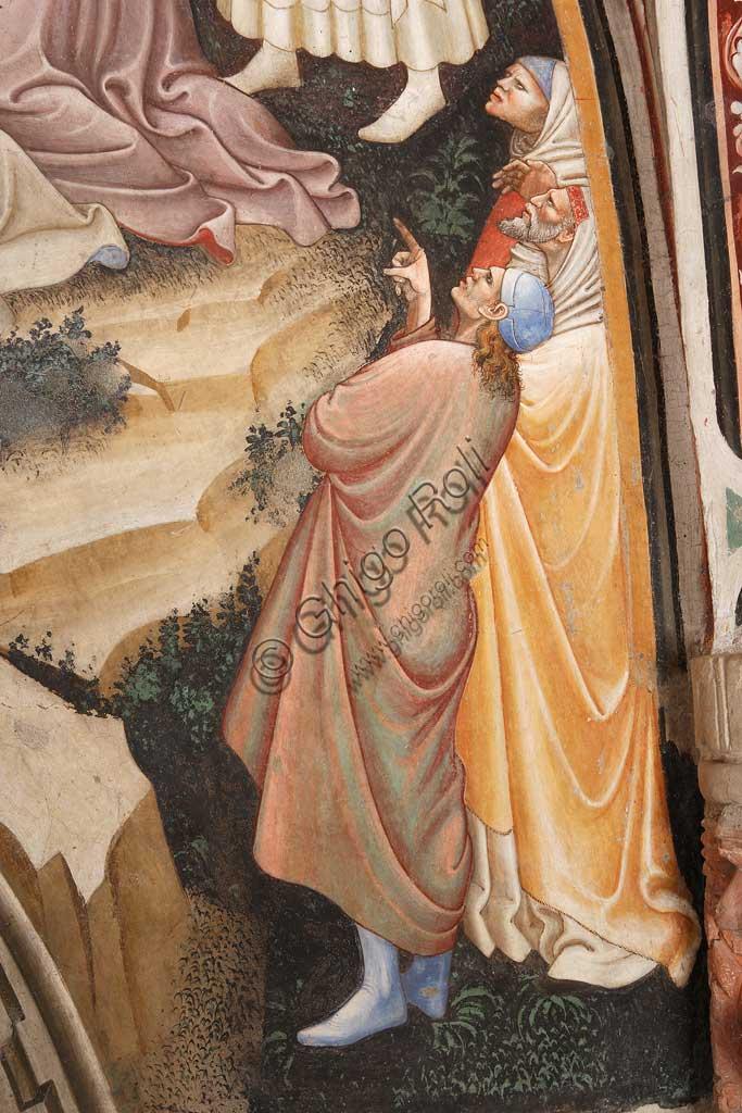 """Rocca di Vignola, Cappella Contrari, parete   orientale: """"Ascensione di Cristo"""". Affresco del Maestro di Vignola, anni Venti del Quattrocento.Particolare con figure maschili."""