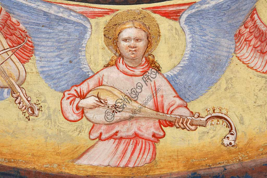 """Rocca di Vignola, Cappella Contrari, parete   orientale: """"Ascensione di Cristo"""". Affresco del Maestro di Vignola, anni Venti del Quattrocento.Particolare con angelo musicante che suona uno strumento a corde."""