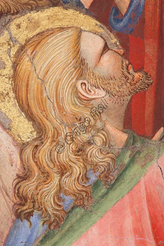 """Rocca di Vignola, Cappella Contrari, parete   orientale: """"Ascensione di Cristo"""". Affresco del Maestro di Vignola, anni Venti del Quattrocento. Particolare con santo."""