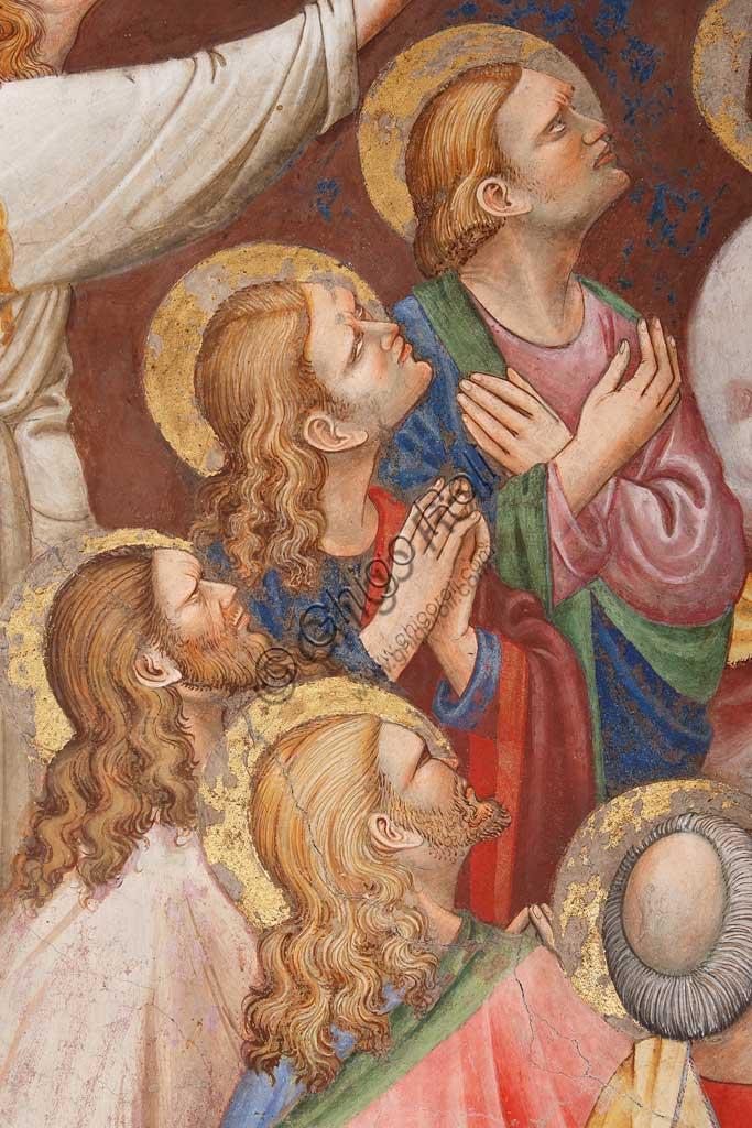 """Rocca di Vignola, Cappella Contrari, parete   orientale: """"Ascensione di Cristo"""". Affresco del Maestro di Vignola, anni Venti del Quattrocento. Particolare con figure maschili e santi."""