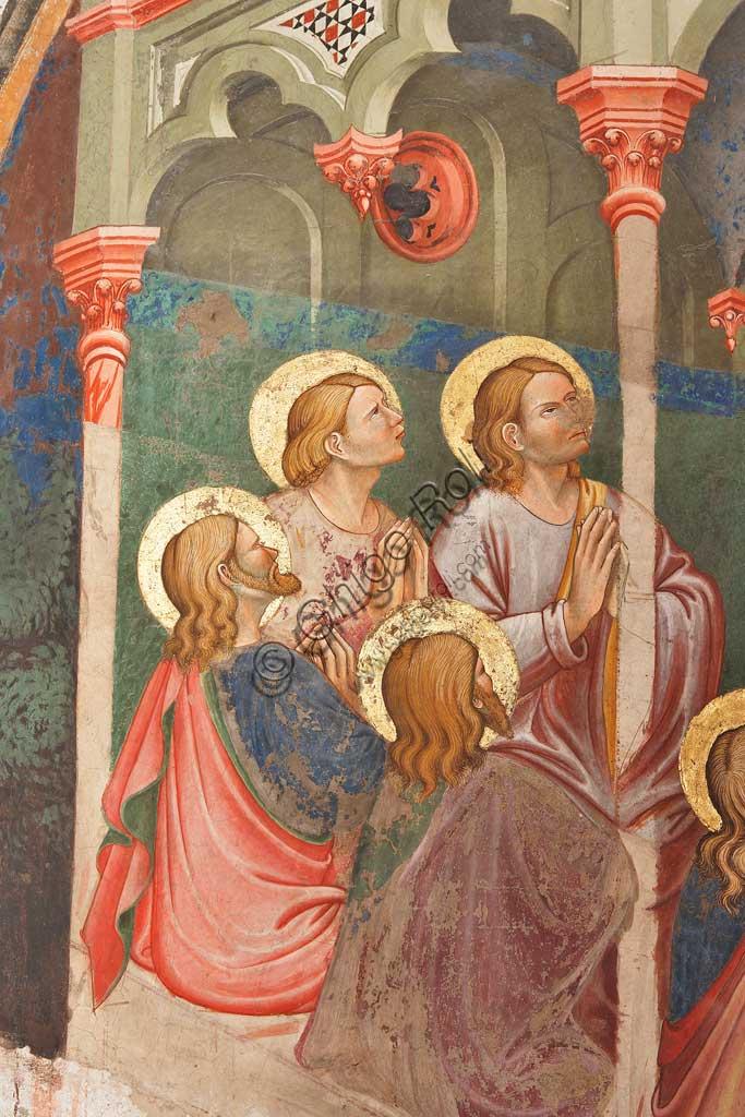 """Rocca di Vignola, Cappella Contrari, parete Ovest """"Pentecoste"""", affresco del Maestro di Vignola, anni Venti del Quattrocento. Particolare con santi in preghiera."""
