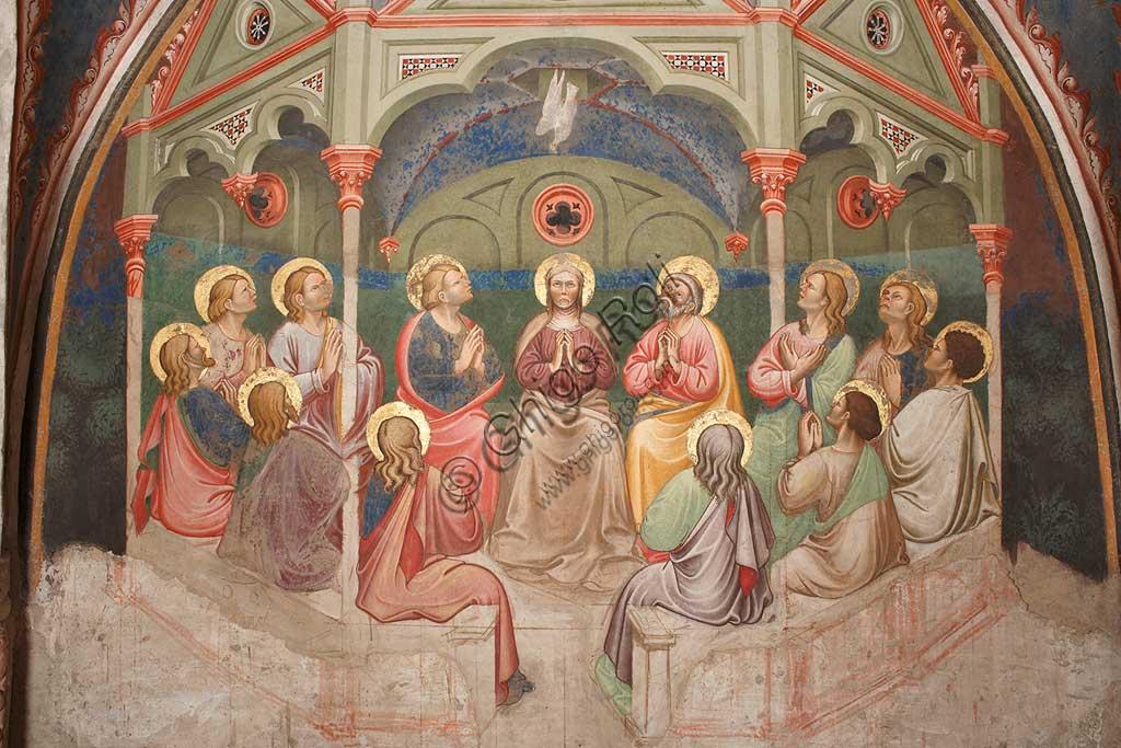 """Rocca di Vignola, Cappella Contrari, parete Ovest """"Pentecoste"""", affresco del Maestro di Vignola, anni Venti del Quattrocento. Particolare con santi  e Maria Vergine in preghiera, e la colomba."""