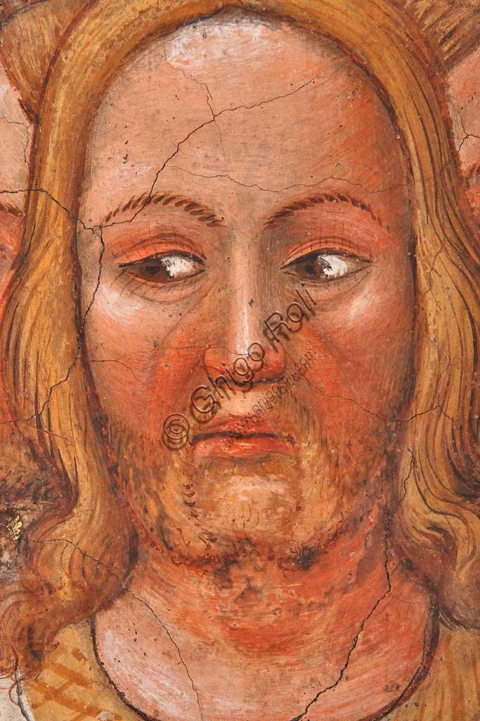"""Rocca di Vignola, Cappella Contrari, parete orientale: """"Trinità trifronte e Albero della Vita"""". Affresco del Maestro di Vignola, anni Venti del Quattrocento. Particolare di uno dei volti."""