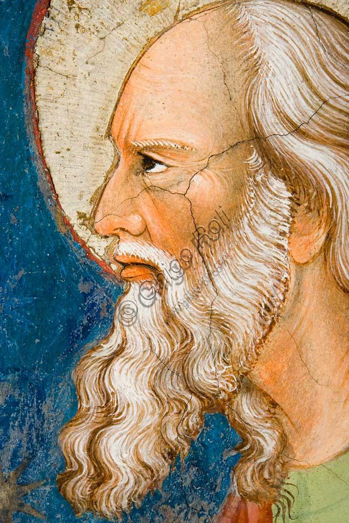"""Rocca di Vignola, Cappella Contrari, parete orientale: """"S. Giovanni Evangelista"""". Affresco del Maestro di Vignola, anni Venti del Quattrocento. Particolare del viso con barba bianca."""
